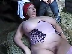 FRENCH Bbw GRANNY OLGA FUCKED BY 2 Dudes IN THE FARM