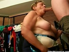 Grandma fellates a big cock
