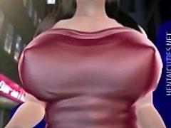 Slatki 3D hentai djevojku dobiva velike vrčeve sisao