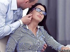 Busy big-chested sweetheart in glasses Chanel Lux gets disturbed with steamy analfuck