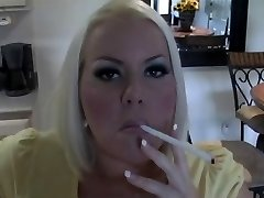 Hot Busty Blondie MILF Smoking Solo