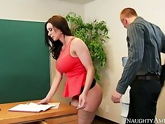 Nasty assistant with big mounds Kendra Lust nailed on the table by Richie Black