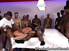 Teen gags on ebony cocks