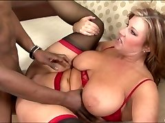 Chubby MILF nailed by a black boy