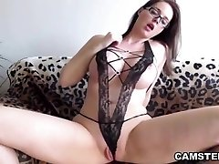 Good-sized ass and tits brunette loves new Dp toy