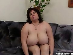 Huge-chested and mature BBW masturbates with vibro