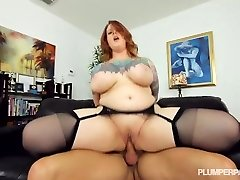 Sexy Tatted Plumper MILF Gets Her Stockinged Feet Fucked