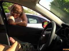 Hipster gal catches me flashing jizz-shotgun in parking lot