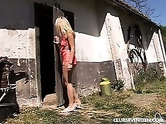 Blonde teen gets pummeled in the barn