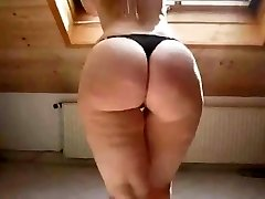 Sexy Platinum-blonde in High Heels Shows Off Her Chubby Ass