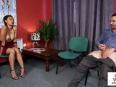 CFNM voyeur instructs jerkoff at therapist office