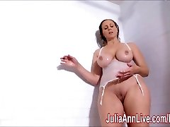 Stellar Cougar Julia Ann Lathers Her Big Tits in Shower!