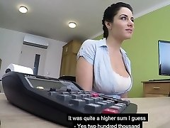 Big melons Czech MILF sucks and boinks to get her loan