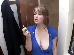 smoking doll down blouse big breast