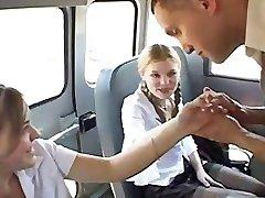 3some in schoolbus