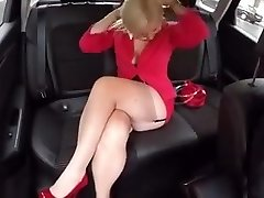 In the Truck with Malene in FF stockings mini microskirt High Stilettos