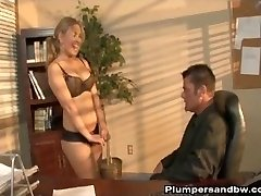 Kirra Lynne Is Arched Over The Desk After Hours