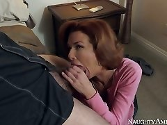Red haired big-chested Cougar Veronica Avluv guzzles massive penis of Dane Cross