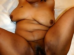 Ebony BBW Naughtya takes our cock in multiple positions and gets covered in sticky man juice