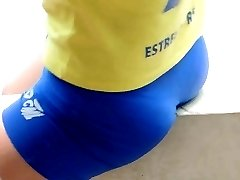 Young girl with tight volleyball shorts
