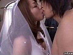 During her wedding she has to blow on a rigid wiener