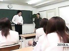 Subtitled CFNM Japanese classroom getting off show
