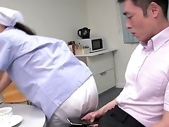 Cute Japanese maid flashes her big boobies while fellating two dicks (FMM)