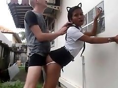 White Guy Pounds His Asian Maid
