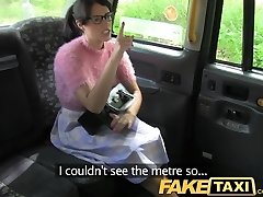 FakeTaxi Dark Haired with glasses pays the price for being rude