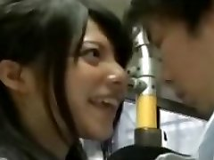 crazy college girl seduce office workers on bus