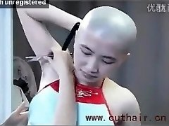 cool girl armpits hair shaved by barber with a straight razor.