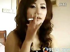 cute asian girl smoking
