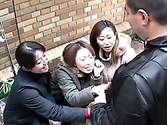 Japanese women tease man in public across hand-job Subtitled