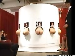 Asian butts inserting out of gloryholes
