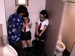 Japanese students threeway drill with dude in restroom