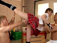 Flexible chick Fucks Two Guys In The Gymnasium