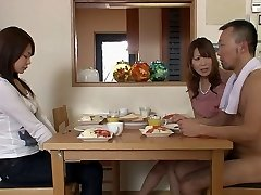 Two men and two nymphs gets naked in the living room