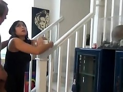 Chubby asian nephew poke and creampie on the stairs
