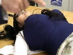 Enormous busty asian babe frolicking with guys at the office