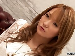 Asian fancy girl Sena Aragaki gets her poon toying stretching legs wide open