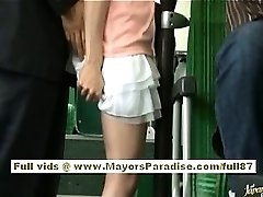 Rio japanese teen babe getting her hairy slit pawed on the bus