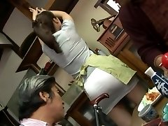 Mature plumbing threesome with Mirei Kayama in a mini mini-skirt