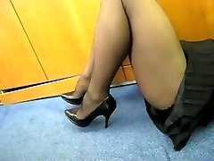 Pantyhose Showcase in the Office