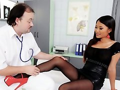 Appetizing wild Chinese patient in heels gives blowjob and footjob to doctor