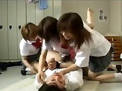 Belt Cock gangbang by 3 japanese schoolgirls