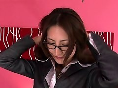 Asian gal in glasses unclothes off her secertary suit and gets showered