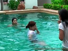 cool thai girls in pool