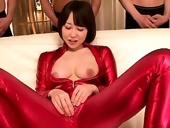 asian gimp outfit cosplay babe sucking cock