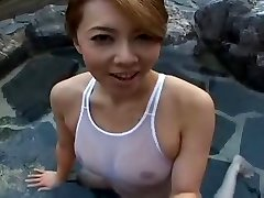Swimsuit Japanese sluty Yumi in pool