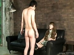 CFNM Asian femdom Ruri like to witness a young naked dude ma
